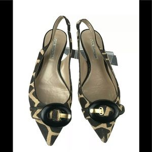 Via Spiga Sling Back Kitten Heel Leopard Shoes